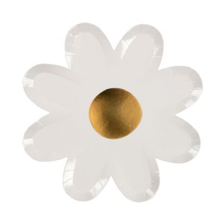 White & Gold Daisy Party Plates